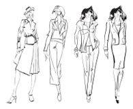 SKETCH. fashion girl. Hand-drawn fashion model. Vector illustration Royalty Free Stock Photo
