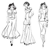 SKETCH. fashion girl. Royalty Free Stock Photography