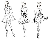 SKETCH. fashion girl. Royalty Free Stock Images