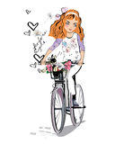 Sketch of a fashion girl on the bicycle with a dog. Stock Photos