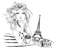 Sketch of fashion girl with flowers and a cup of coffee. vector illustration