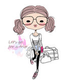 Sketch fashion girl and luggage Stock Image