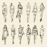 Sketch of fashion girls drawn vector illustration Royalty Free Stock Photos