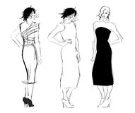 Sketch. fashion girls Stock Photography