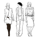 Sketch. fashion girls Royalty Free Stock Image