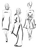 Sketch. fashion girls Royalty Free Stock Photo