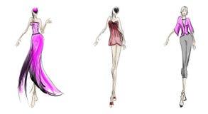 Sketch. fashion girls Royalty Free Stock Photo