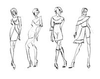 Sketch. fashion girls Royalty Free Stock Photos