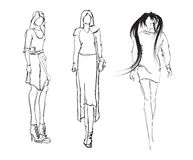 SKETCH. fashion girls Stock Photo