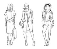 SKETCH. fashion girls Stock Image