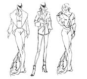 SKETCH. fashion girls Royalty Free Stock Images