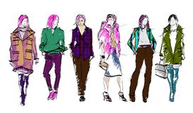 Sketch. Fashion Girls on a white background. Royalty Free Stock Photography
