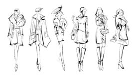 Sketch. Fashion Girls on a white background. royalty free stock images