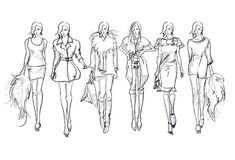 Sketch. Fashion Girls on a white background. Stock Image