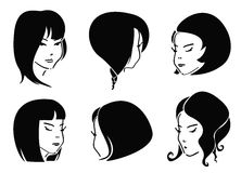 Sketch Fashion Hair Styles Stock Photos
