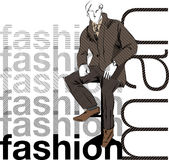 Sketch fashion & handsome business man Stock Photography
