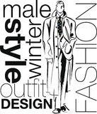 Sketch of fashion handsome man illustration. Stock Photography