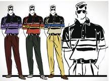 Sketch of fashion handsome man illustration. Royalty Free Stock Photo