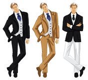 Sketch of fashion people. Vector hand draw illustration of young man in english suit  on white background. Sketch of fashion people Stock Images