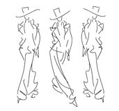 Sketch Fashion Poses Royalty Free Stock Image