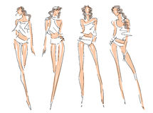 Sketch Fashion Poses Royalty Free Stock Photography