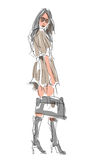 Sketch Fashion Poses Stock Images