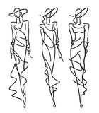 Sketch Fashion - women in evening style Stock Photography