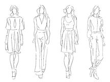 Sketch Fashion Women Stock Image