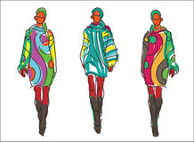 Sketch Fashion Women Models Royalty Free Stock Image