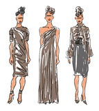 Sketch Fashion Women Models Stock Photography