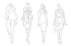 Sketch Fashion Women Models. In Style Clothes Stock Photos