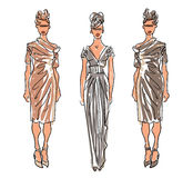 Sketch Fashion Women Models Royalty Free Stock Photos