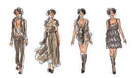 Sketch Fashion Women Models Stock Image