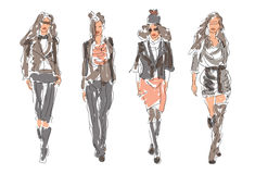 Sketch Fashion Women Stock Images