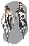 Sketch of fashionable dresses. Hand-drawn sketch of fashionable dresses, illustration Stock Photography