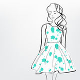 Sketch of a fashionable girl. Royalty Free Stock Photos