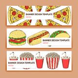 Sketch fast food banner Royalty Free Stock Image