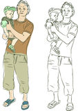 Sketch of father and son Stock Images