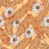Sketch feather and daisy, vector  seamless pattern Stock Image