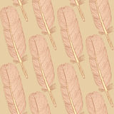 Sketch feather,  vintage seamless pattern Stock Photo