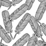 Sketch feather,  vintage seamless pattern Royalty Free Stock Images