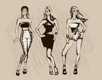 The sketch of female fashion. The sketch of a summer female fashion. Linear drawing Royalty Free Stock Images