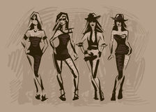 The sketch of female fashion. Brown sketch of female fashion Stock Image
