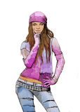 Sketch of female fashion. Watercolor sketch of female fashion Royalty Free Stock Photos