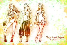 Sketch of female fashion Royalty Free Stock Images