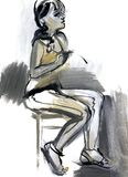 Sketch of a female figure Stock Photography