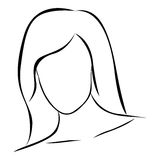 sketch female front view faceless silhouette icon Royalty Free Stock Image