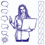 Sketch Female With Laptop Shows Well Done Stock Images