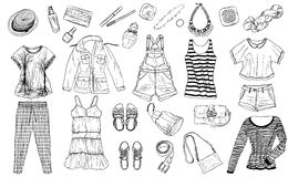 Sketch of female spring and summer fashion collection of clothes Royalty Free Stock Photo