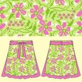 Sketch female summer skirt flower cross stitch geometric pattern in boho style. Fashion design and illustration. Royalty Free Stock Photo